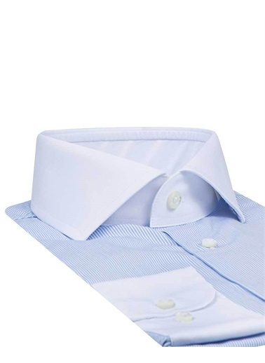 Damat 1Df02Sg40224 Slim Fit Çizgili Gömlek Mavi